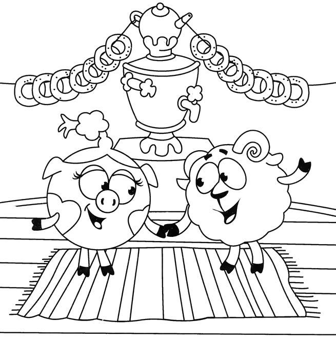 Раскраска  смешарики для малышей скачать бесплатно. Нюша и бараш около самовара с баранками. Скачать Нюша, Бараш.  Распечатать Смешарики