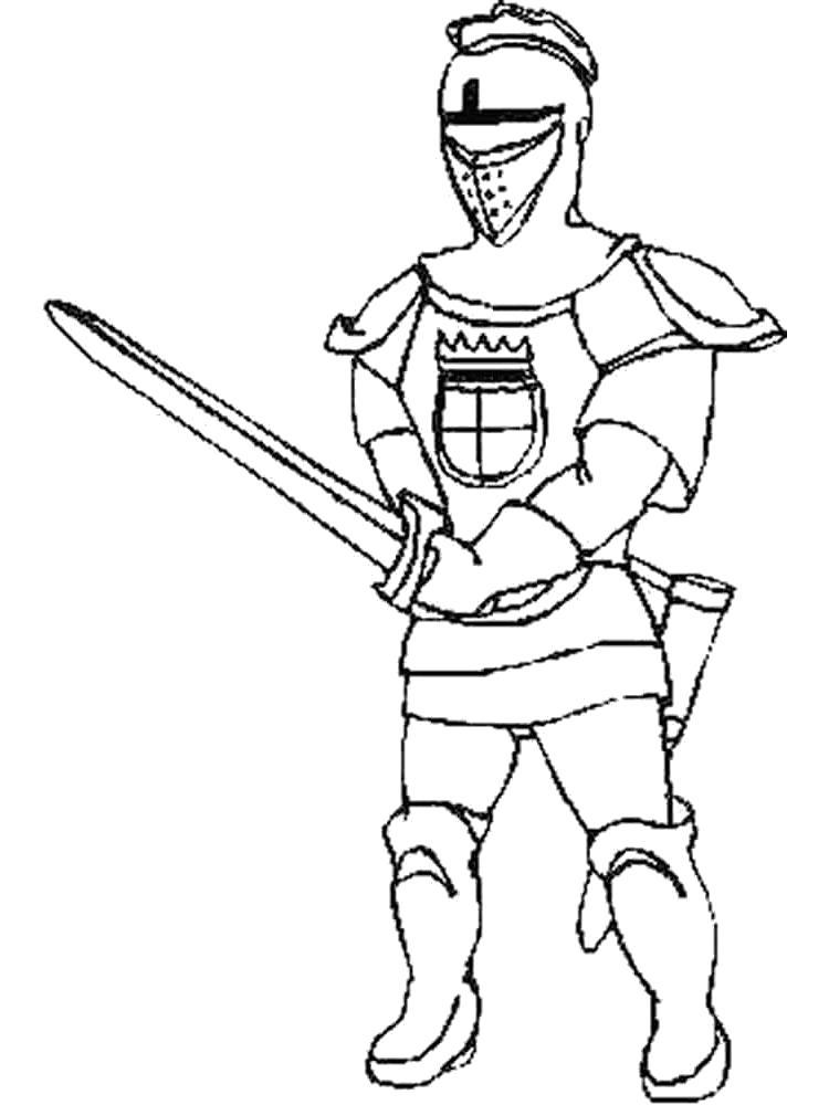 Раскраска Меч рыцаря. Скачать рыцари.  Распечатать рыцари