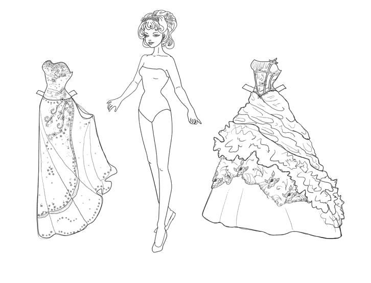 Раскраска Выбор наряда. Скачать платье.  Распечатать платье