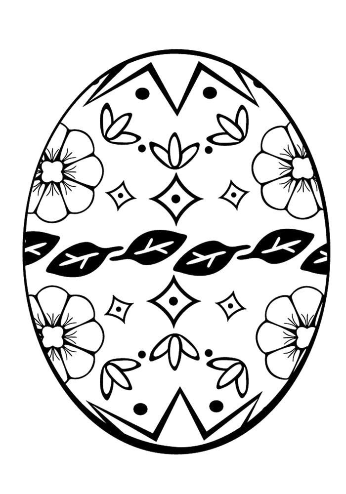 Раскраска  пасхальных яиц для детей. Скачать Пасха.  Распечатать Пасха