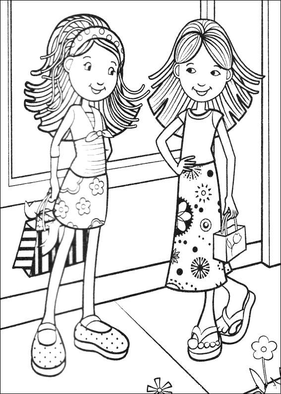 Раскраска модные молодые девушки. Скачать мода.  Распечатать Для девочек