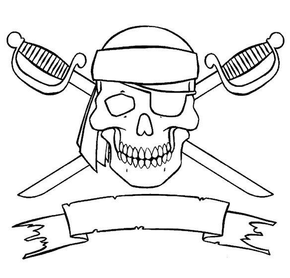 Раскраска Знамя пиратов. Скачать Скелет.  Распечатать Скелет