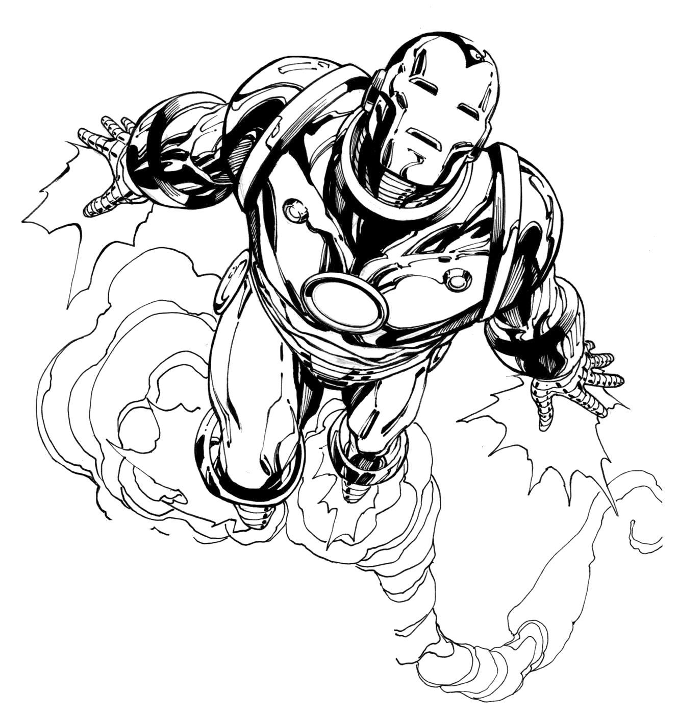 Раскраска Скачать картинки и раскрашки Бэтмен. Скачать Железный человек.  Распечатать Комиксы и супергерои