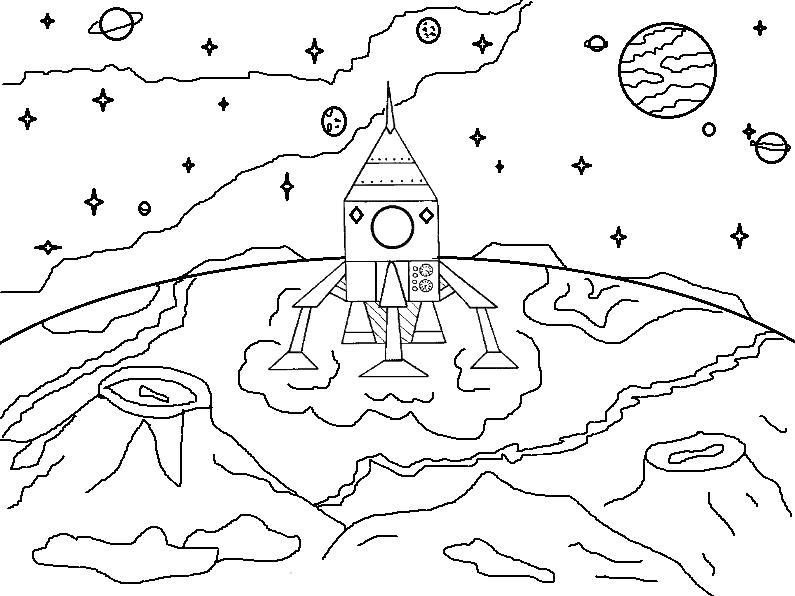 Раскраска Ракета на Луне. Скачать день космонавтики.  Распечатать день космонавтики