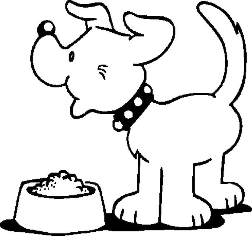 Раскраска Радость обеду. Скачать Щенок.  Распечатать Домашние животные