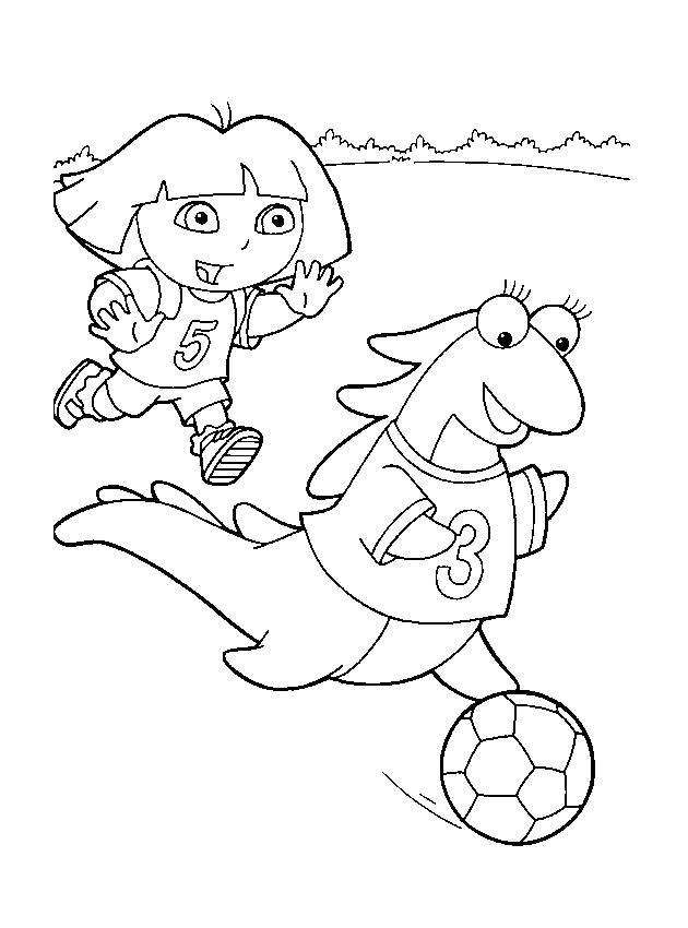 Раскраска Даша и дино играют в мячик. Скачать Даша следопыт.  Распечатать Даша следопыт