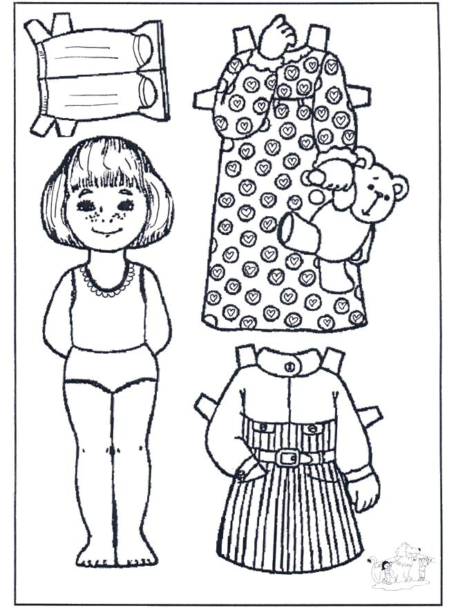 Раскраска  одень вырежи и одень куклу девочку. Скачать одень куклу.  Распечатать одень куклу