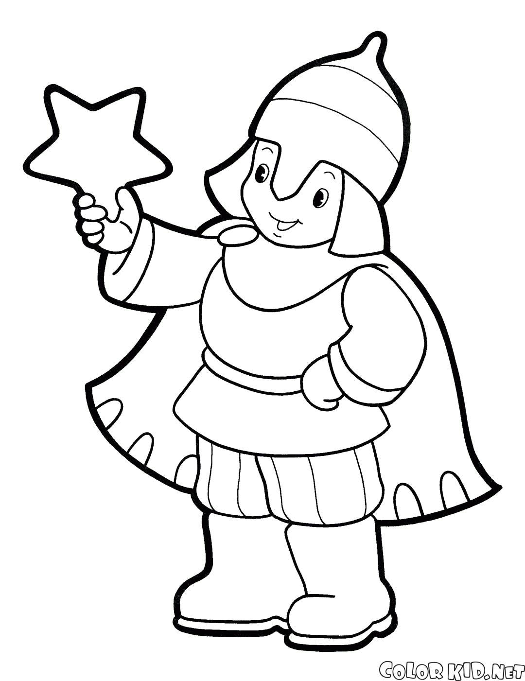 Раскраска Новогодний костюм богатыря. Скачать костюм.  Распечатать костюм