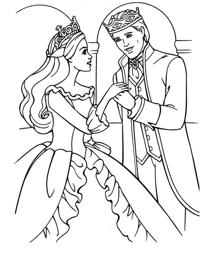Раскраска Барби и принц. Скачать .  Распечатать