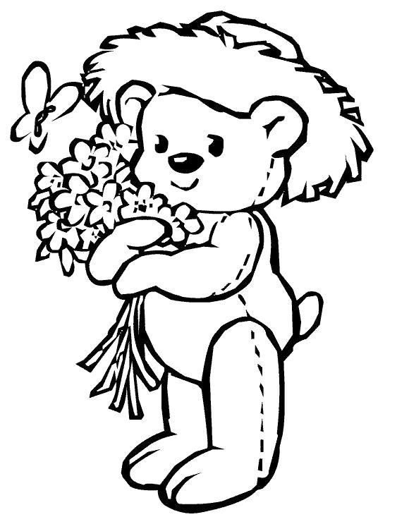 Раскраска Мишка с букетом. Скачать Цветок.  Распечатать Цветок