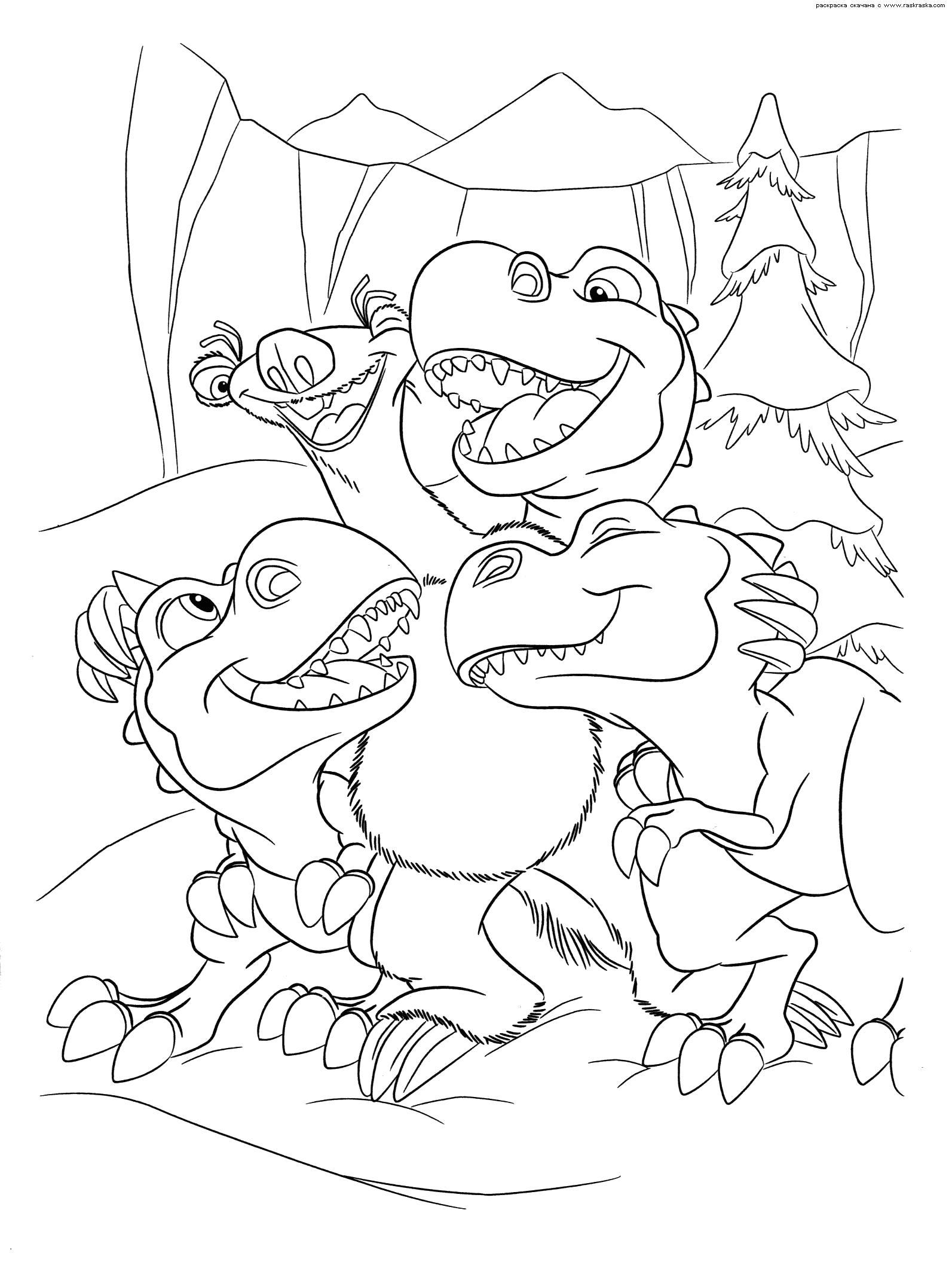 Раскраска  Сид стал мамой.  Динозаврики из мультфильма Ледниковый период 3 : Эра динозавров скачать бесплатно раскраску для ребенка, раскраску из мультика скачать. Скачать динозавр.  Распечатать динозавр