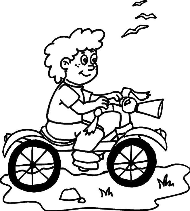Раскраска мальчик катается на велосипеде. Скачать Велосипед.  Распечатать Велосипед