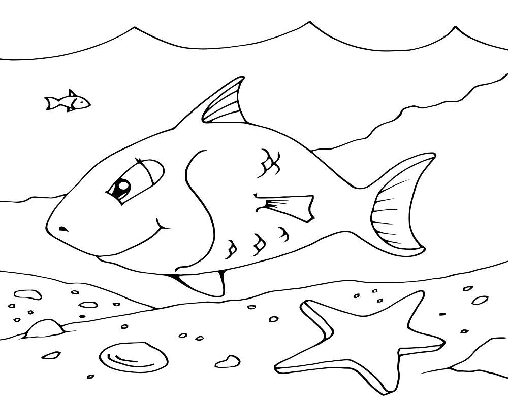 Раскраска подводный мир, вода, море, звезда, рыба, волны. Скачать подводный мир.  Распечатать подводный мир