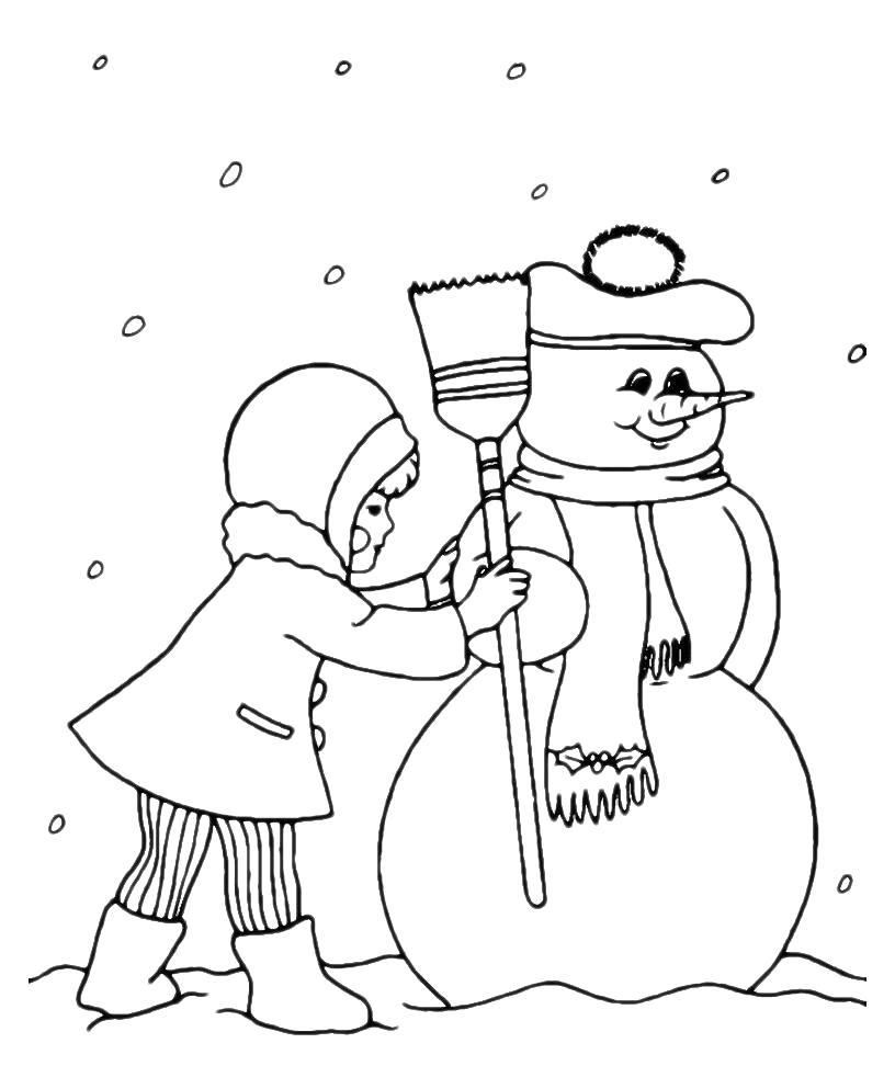 Раскраска Нарядный снеговик. Скачать снег.  Распечатать снег