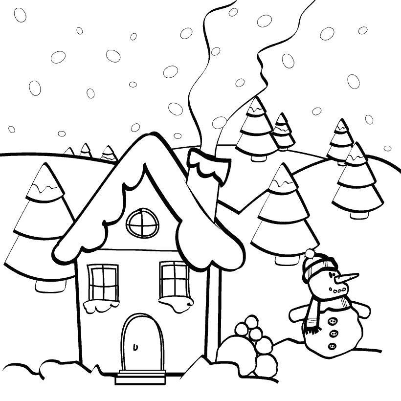 Раскраска зимний двор. Скачать Дом.  Распечатать Дом