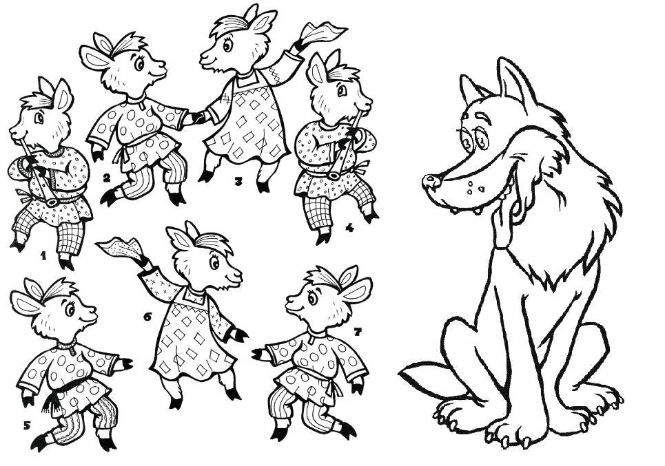Раскраска   к сказке семеро козлят волк и семеро козлят сказка , скачать. Скачать волк.  Распечатать Дикие животные