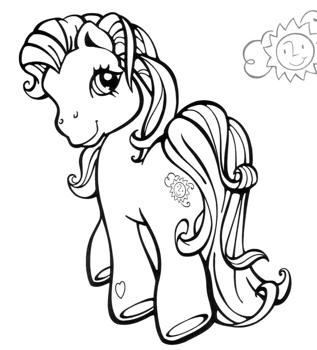 Раскраска пони уходит. Скачать пони.  Распечатать пони