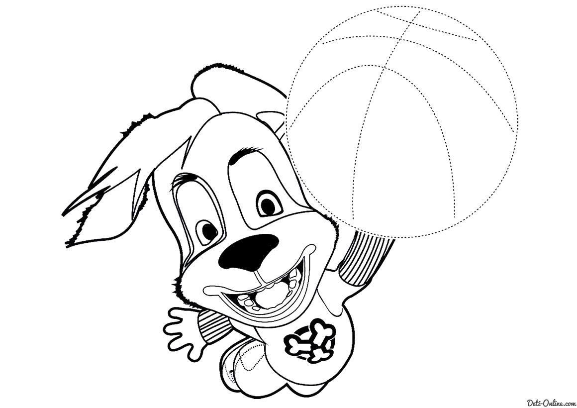 Раскраска  Дружок с мячом по точкам. Скачать по точкам.  Распечатать по точкам