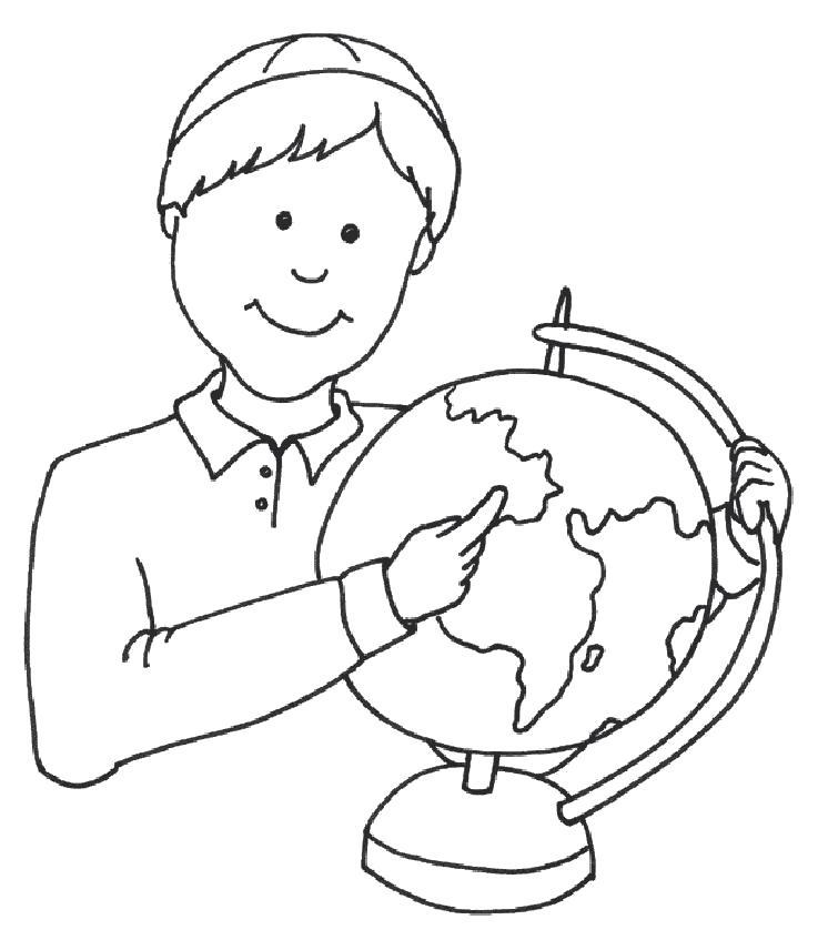 Раскраска  мальчика с глобусом. Скачать Школа.  Распечатать Школа