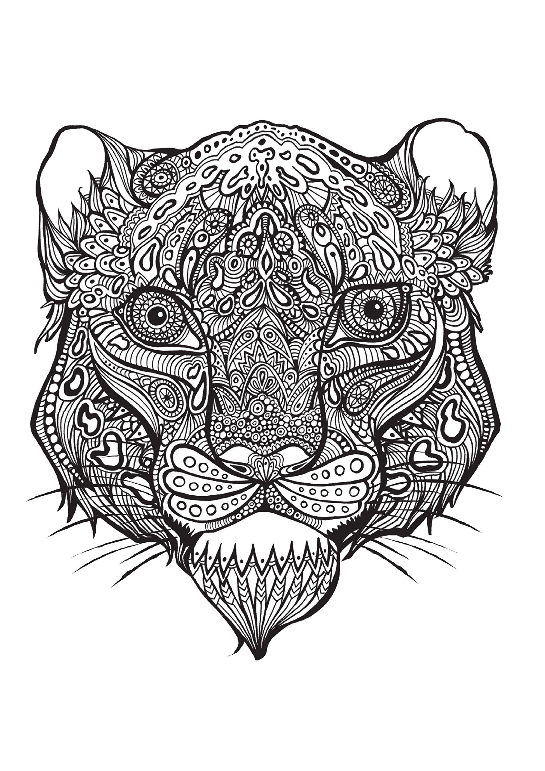Раскраска Голова тигра, Антистресс. Скачать Тигр.  Распечатать Дикие животные