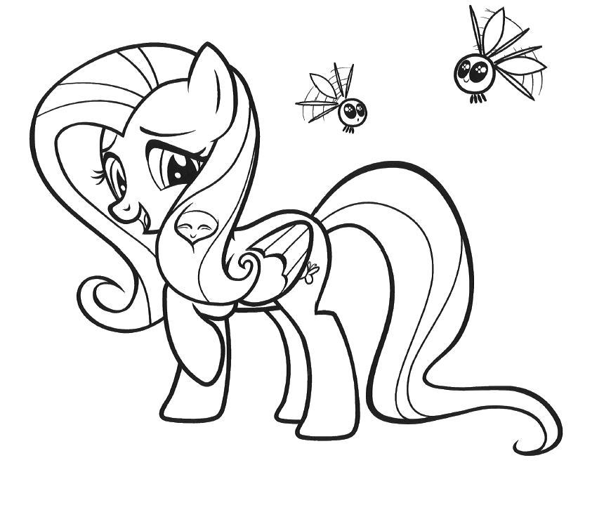 Раскраска пони не любит комаров. Скачать пони.  Распечатать пони