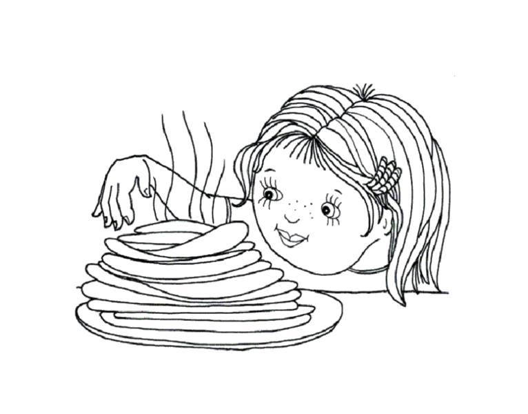 Раскраска  девочка кушает блины. Скачать масленица.  Распечатать масленица