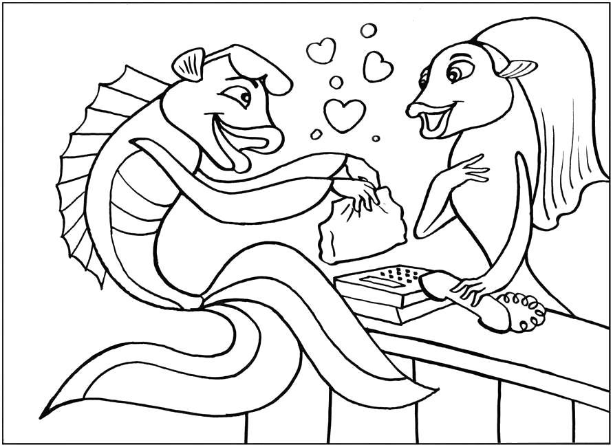 Раскраска   для детей по сказкам подводная братва оскар разговаривает с рыбкой . Скачать Рыбы.  Распечатать Морские животные