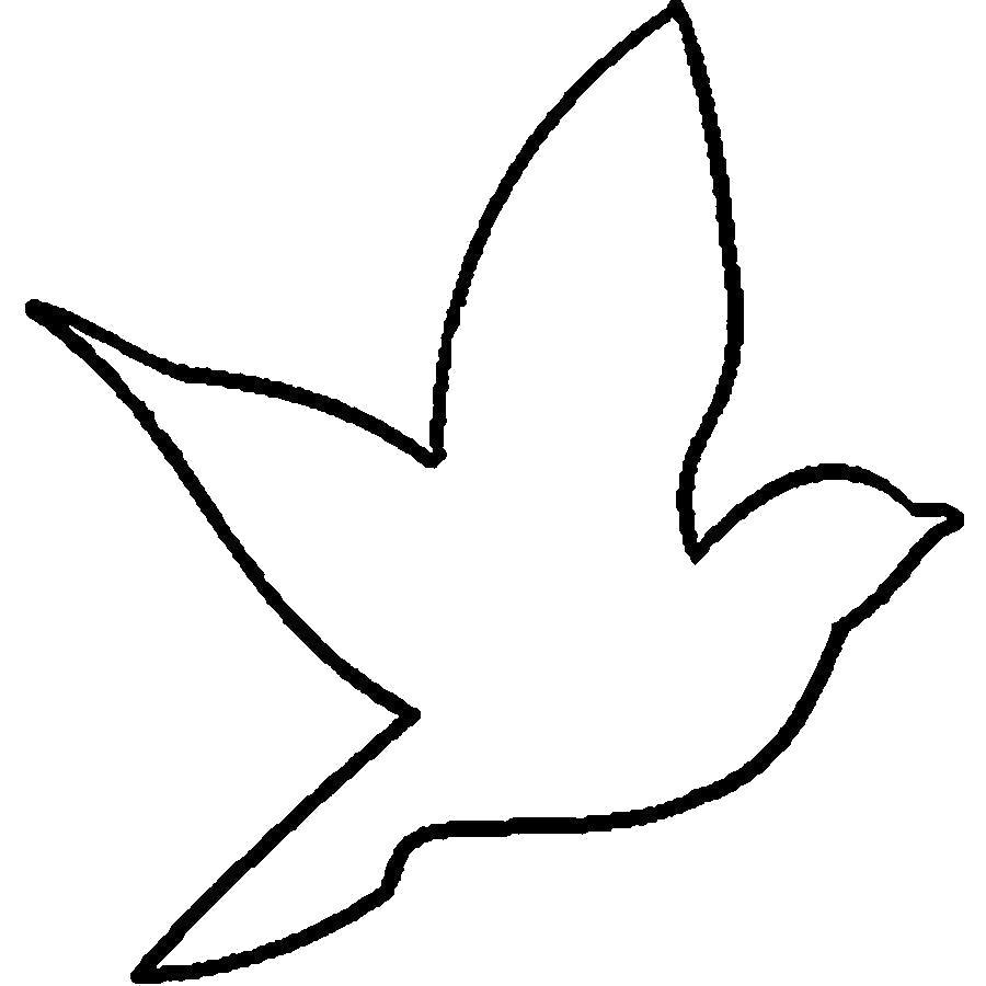 Раскраска  птица трафарет для вырезания из бумаги. Скачать Трафарет.  Распечатать Трафарет
