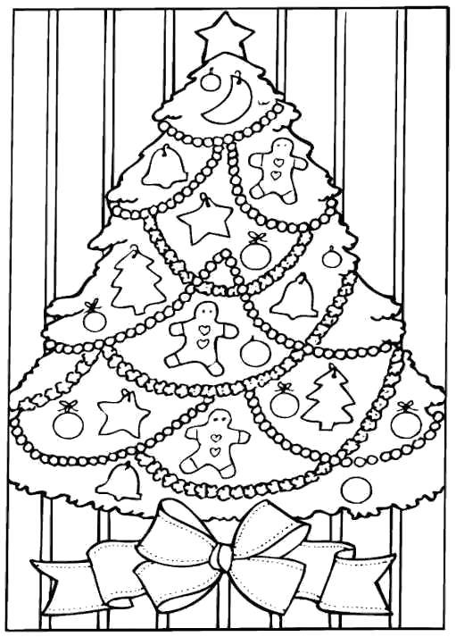 Раскраска  с новогодней ёлочкой, новогодняя . Скачать Елка.  Распечатать Новый год
