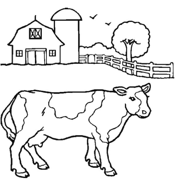 Раскраска Ферма. Скачать Корова.  Распечатать Домашние животные