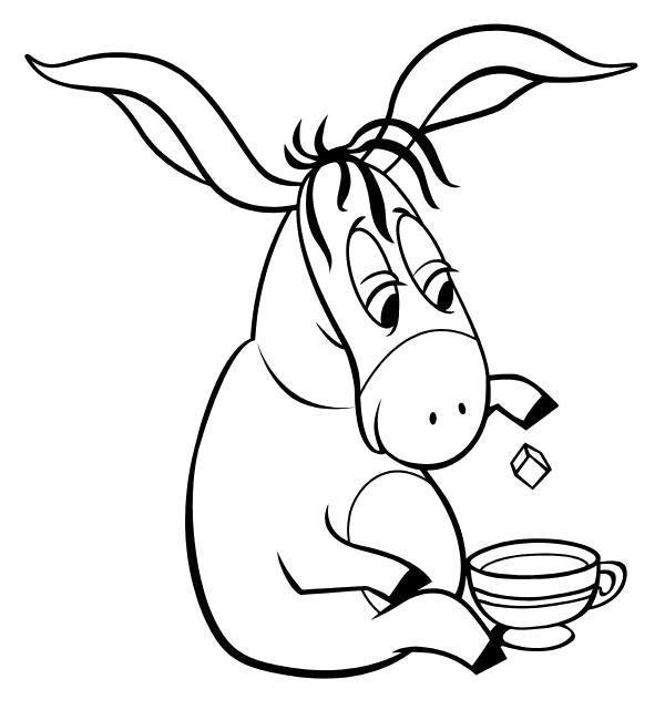Раскраска  Ослик Иа пьёт чай. Скачать Винни.  Распечатать Винни