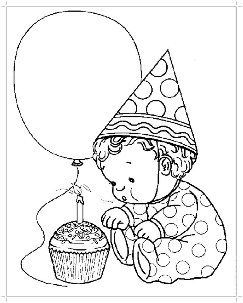 Раскраска  на день рождения 1 годик, ребенок радуется тортику. Скачать День рождения.  Распечатать День рождения