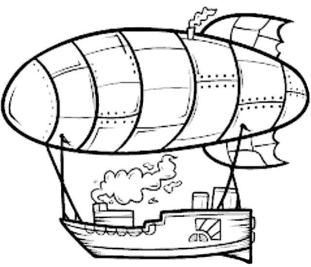 Раскраска дирижабль несет корабль. Скачать .  Распечатать