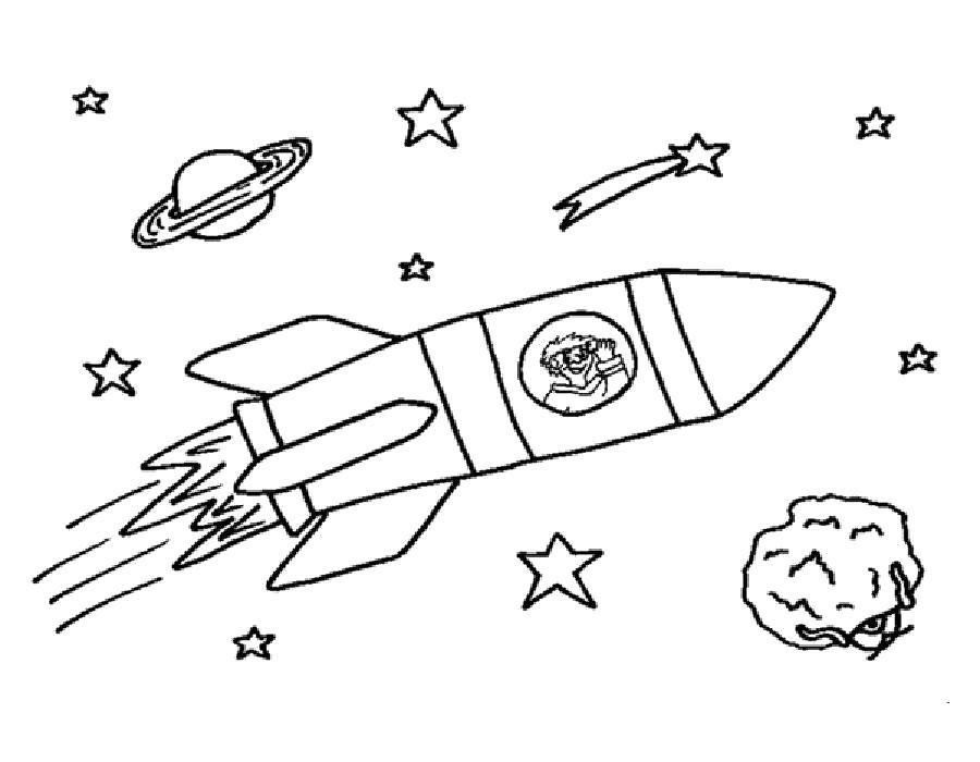 Раскраска ракета в космосе. Скачать день космонавтики.  Распечатать день космонавтики