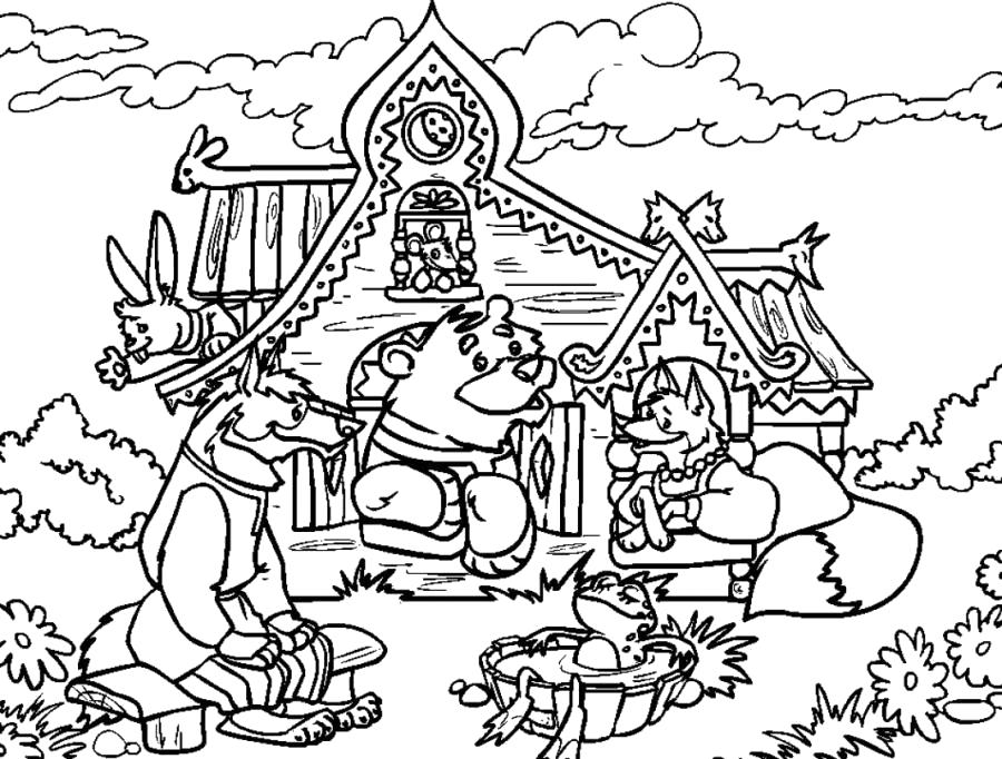 Раскраска Медведь забрался в теремок -  . Скачать медведь, лиса, волк, Заяц.  Распечатать Дикие животные