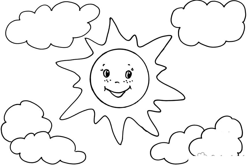 Раскраска лето веселое,солнце,два облака . Скачать Лето.  Распечатать Лето
