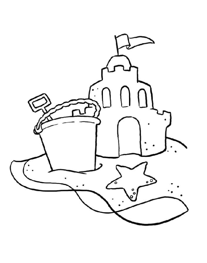Раскраска  Замок из песка. Скачать Замок.  Распечатать Замок