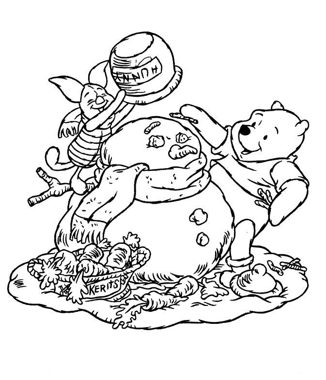 Раскраска Лепля снеговика. Скачать Герои Диснея.  Распечатать Герои Диснея