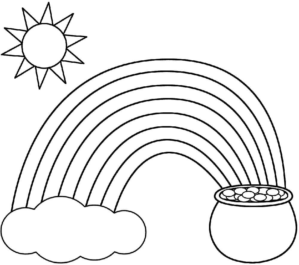 Раскраска  детская детская  явления природы, радуга . Скачать дуга.  Распечатать геометрические фигуры