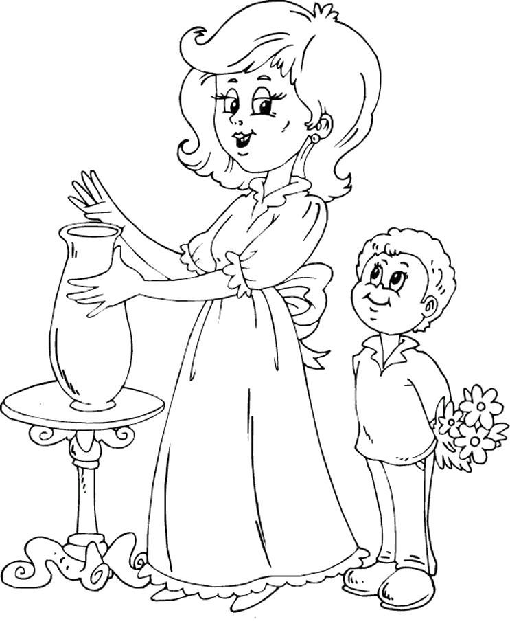 Раскраска сын поздравляет маму. Скачать День Матери.  Распечатать День Матери