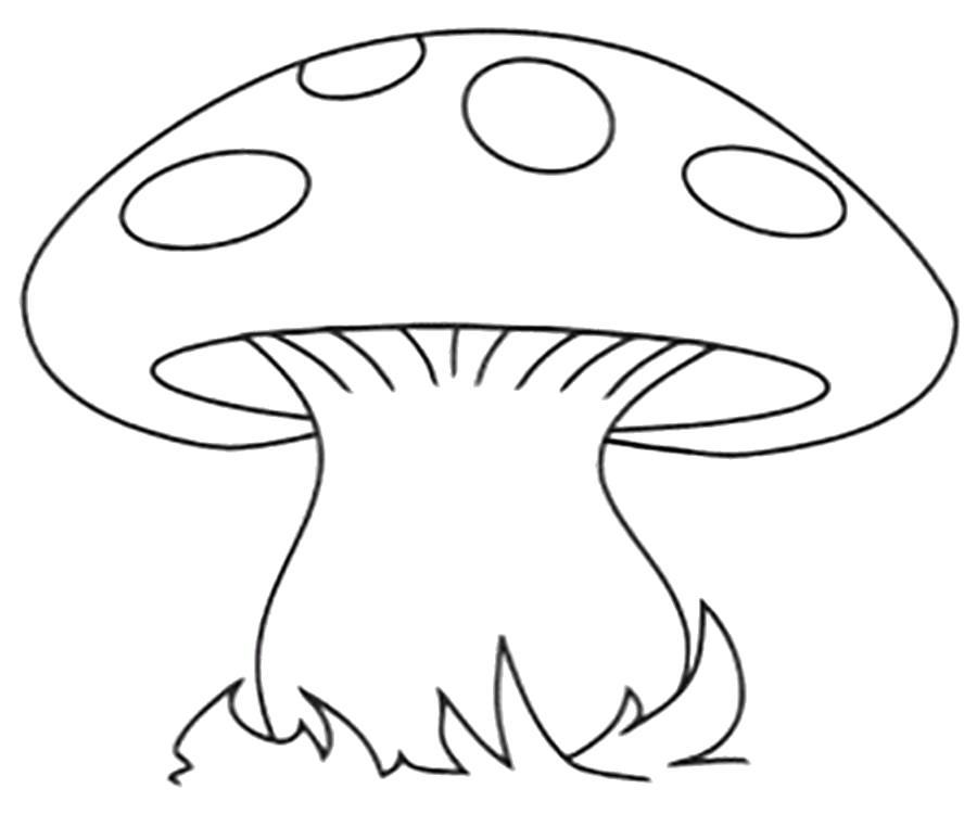 Раскраска  гриба гриб мухомор шаблон для поделок из бумаги. Скачать гриб.  Распечатать растения