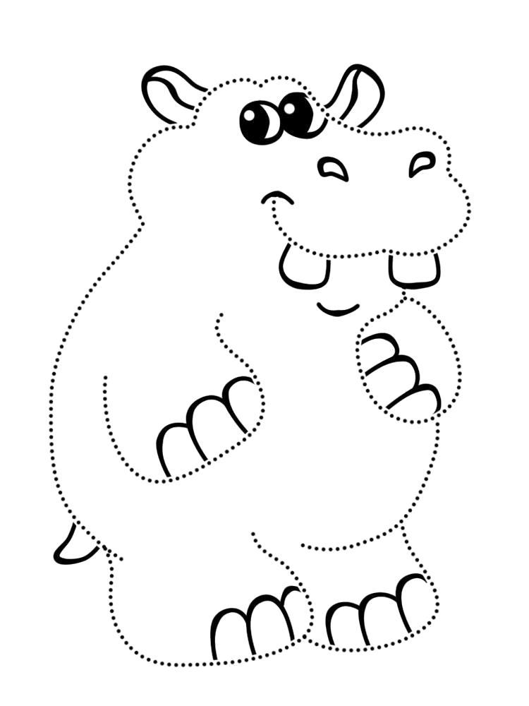 Раскраска  с африканскими животными для девочек. Обведи по точкам и раскрась. Скачать обведи по точкам.  Распечатать дорисуй по точкам