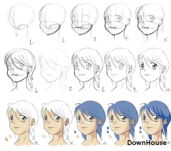 Раскраска Как нарисовать девушку Аниме. Скачать Как нарисовать.  Распечатать Как нарисовать