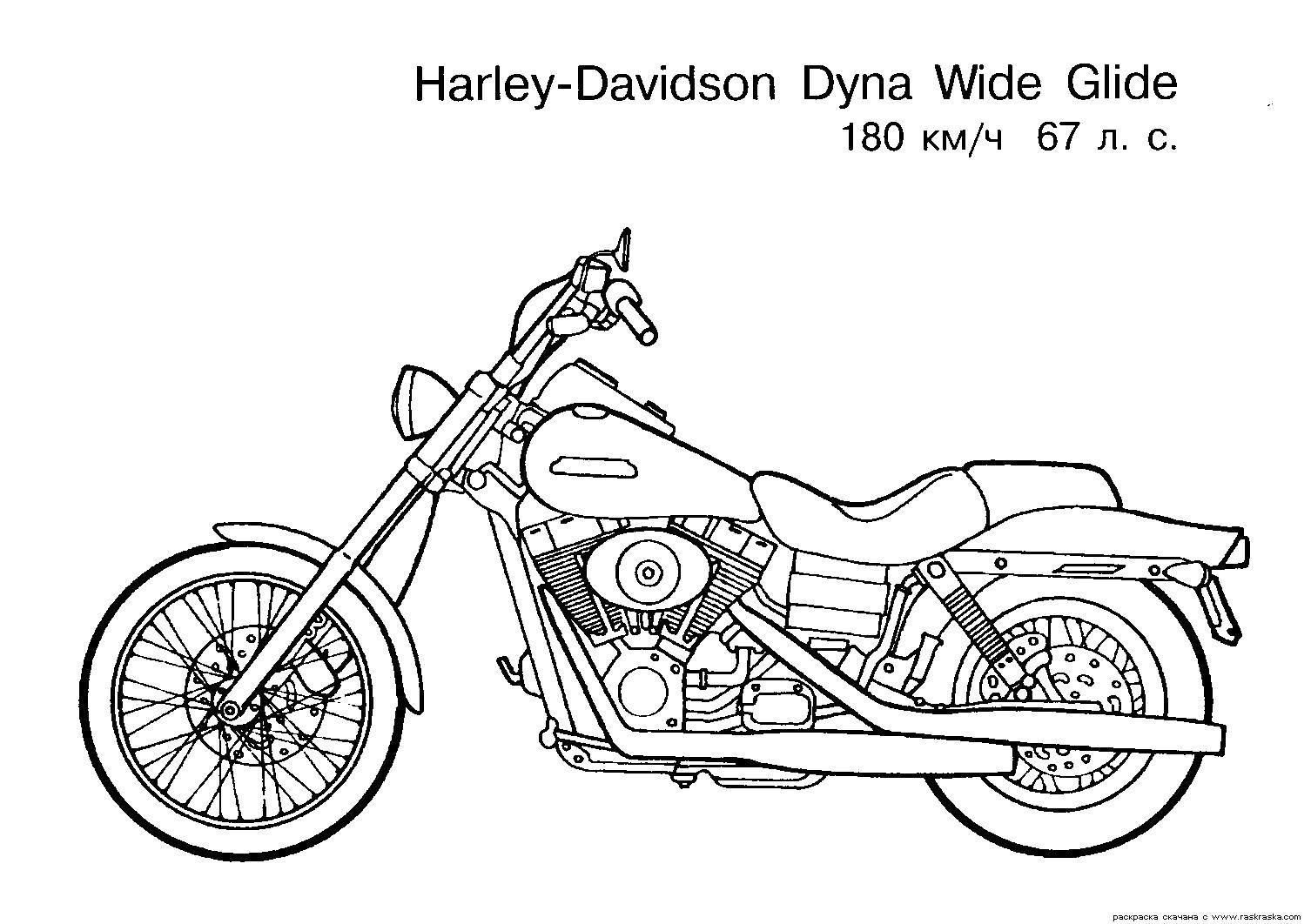 Раскраска мотоцикл Харлей Дэвидсон, мотобайк. Скачать Harley.  Распечатать Harley