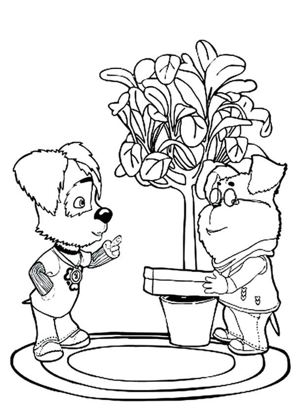 Раскраска Гена выращивает дерево, дружок слушает,  барбоскины. Скачать Барбоскины.  Распечатать Барбоскины