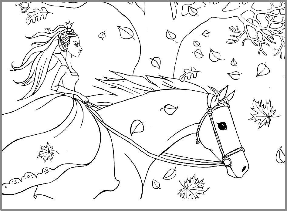 Раскраска Принцесса в бегах. Скачать принцесса.  Распечатать принцесса