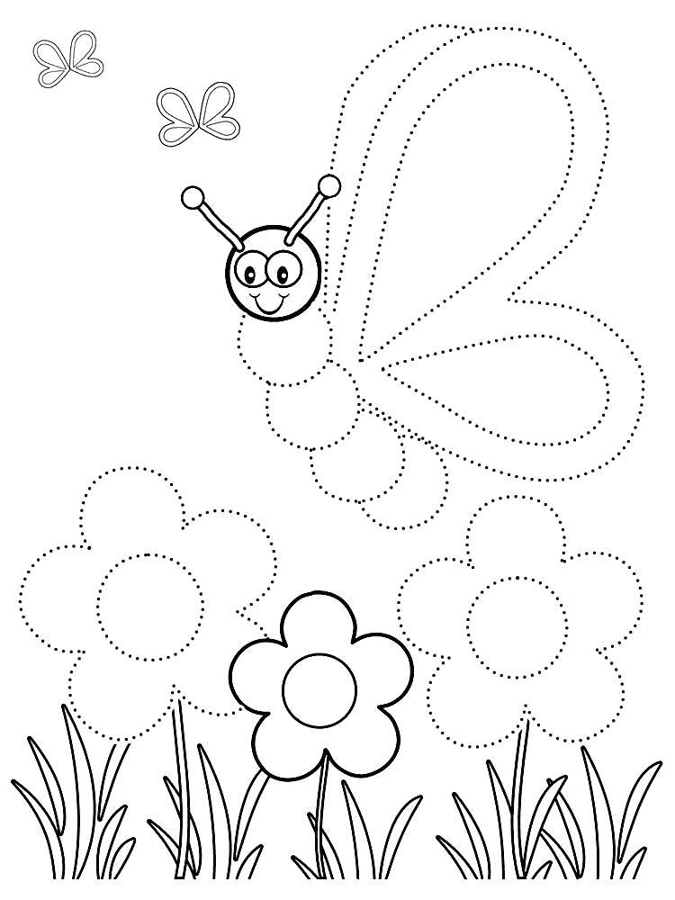 Раскраска обведи по точкам. Скачать Бабочки.  Распечатать Бабочки