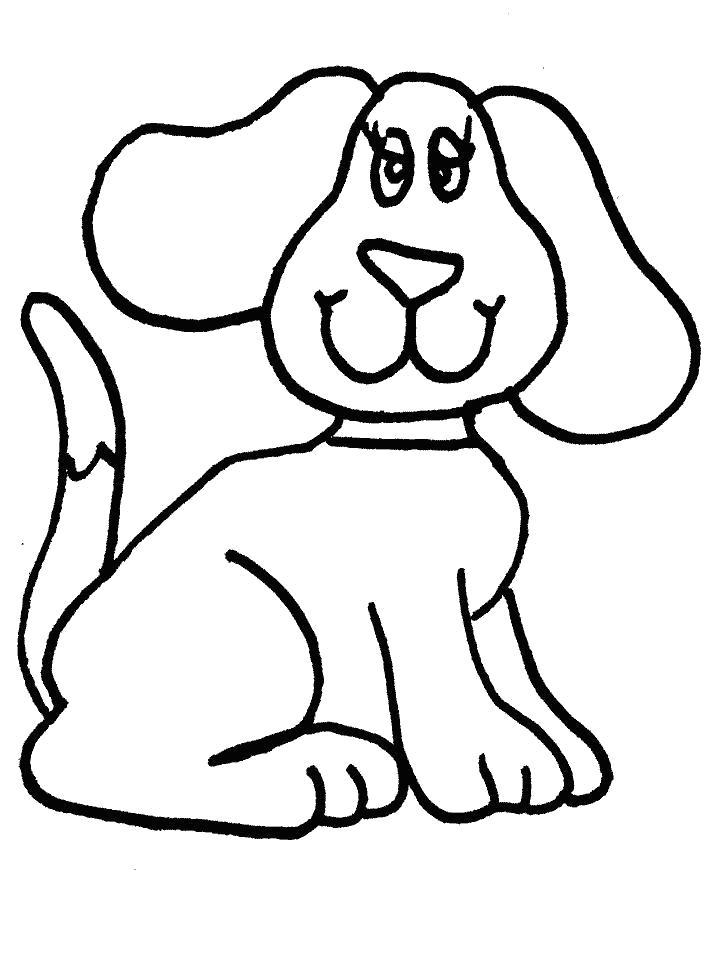 Раскраска Ушастая собачка. Скачать Собака.  Распечатать Домашние животные