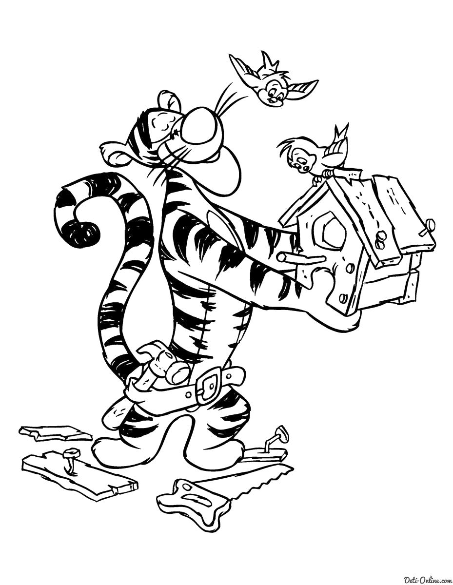 Раскраска  Тигра мастерит скворечник. Скачать Винни.  Распечатать Винни