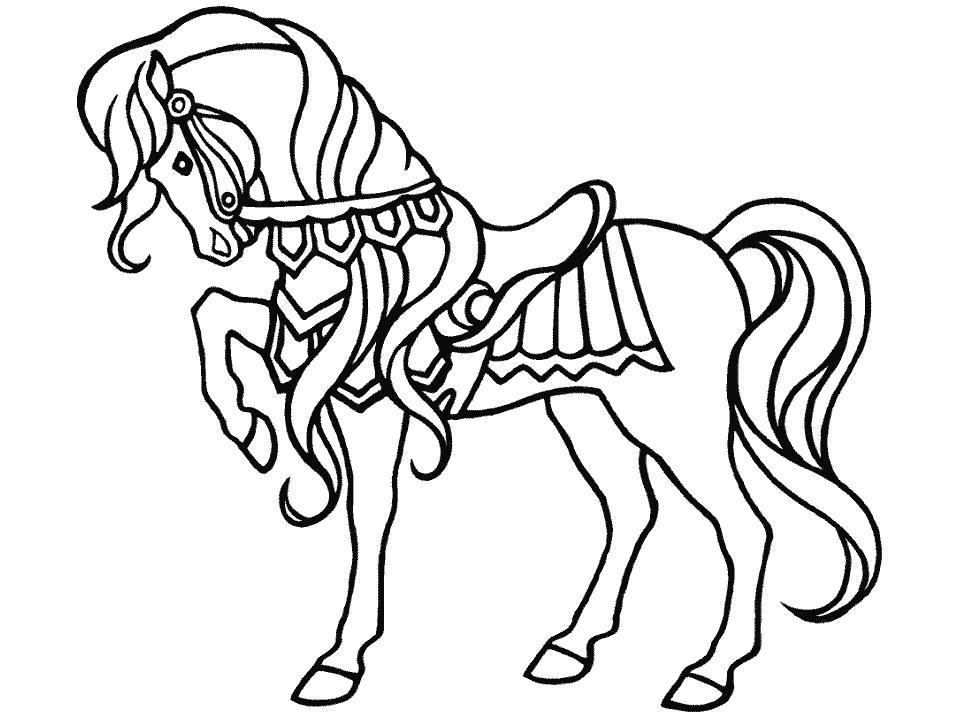 Раскраска  для детей, красавица лошадка. лошадь подняла ногу. Скачать Лошадка.  Распечатать Лошадка